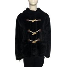 Women Hood Trimmed Mink Faux Fur Coat