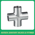 BPE Sanitary welding cross 4 way pipe fitting