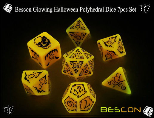 Bescon Glowing Halloween Polyhedral Dice 7pcs Set-5