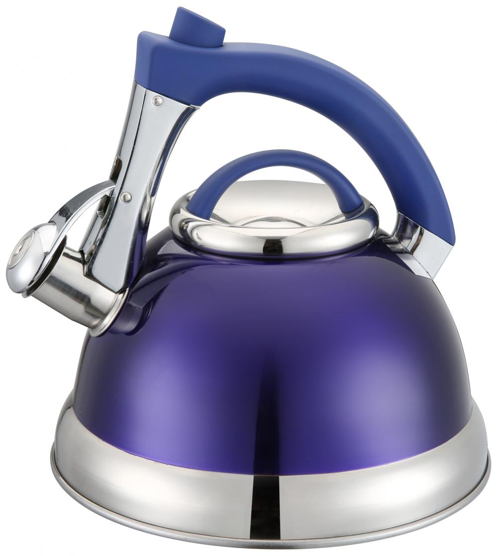Purple Whistling Kettle Blue Handle