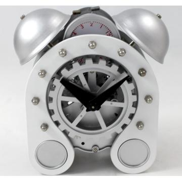 Silver Gear Alarm Clock on Desk