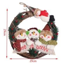 29CM Christmas Wreath Santa Claus Snowman Elk Door Hanging Decorations Xmas Holiday Front Door Ornaments