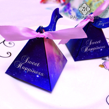 Collapsible pink pyramid wedding candy box wholesale