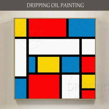 Artist Hand-painted Colorful Geometry Oil Painting on Canvas Hand-painted Piet Cornelies Mondrian Oil Painting for Living Room