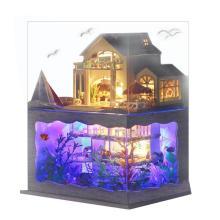 Villa Doll House Furniture LED Light DIY Wooden Mini Dollhouse Assemble Toy