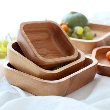 Square Log-Wooden Dishes Dessert Wooden Plate Set Kitchen Utensils Tableware Dinnerware Set Of Plates Cutlery For Kitchen