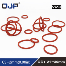 5PCS/lot Red Silicon Rings Silicone/VMQ O ring OD21/22/23/24/25/26/27/28/29/30*2mm Thickness Rubber O-Ring Seal Gaskets Washer