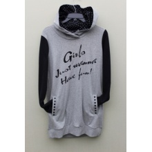 100%POLYESTER KNITTED FRONT PRINT/Embroidery  Ladies Pullover