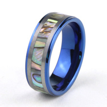 Blue Tungsten Wedding Ring With Abalone Shell Inlay