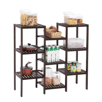9 Tier Wooden Display Rack Indoor Outdoor Garden Folding Wood Flower Pot Shelf Stand