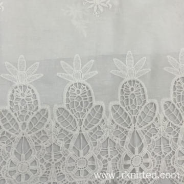 White Pure Cotton Embroidered Fabric