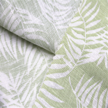 Linen / Rayon slub fabric with leaf pattern