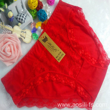 OEM wholesale China cheap red sexy panty comfortable lace cotton fancy underwear 518