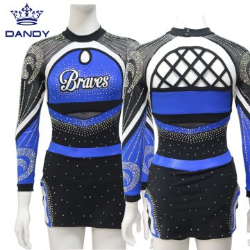 Custom royal blue youth cheer outfits
