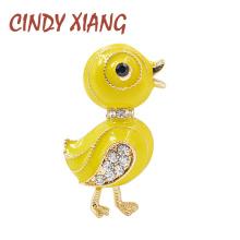 CINDY XIANG Cute Little Duck Brooch Pin Yellow Enamel Animal Brooch Pin Summer Kids T-shirt Pin Rhinestone Jewelry Drop Shipping