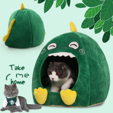 Detachable Winter Warm Cat Bed Breathable Cat Pet Cave Dark Dinosaur Cat Bed House with Cushion Puppy Sleeping Mat Bed for Pets