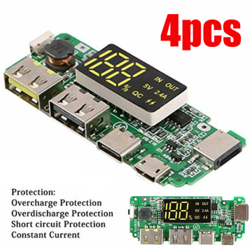 4pcs Multifunction 186 50 Lithium Charging Board With Protection Dual USB 5V 2.4A Mobile Power Bank Battery Charger PCB DIY LED
