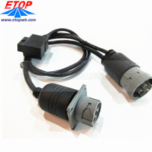 Heavy Truck Diagnostic Cable Female OBD2 To Female J1708 Connector