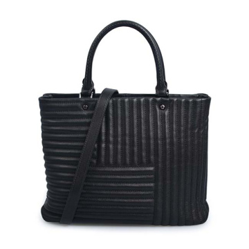 Double handle women's bag Black Leather Tote