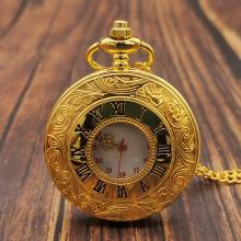 Classic Vintage Gold Quartz Pocket Watch Chain Roman Numerals Unisex Hollow Case Vintage Pendant Necklace Women Men Gifts