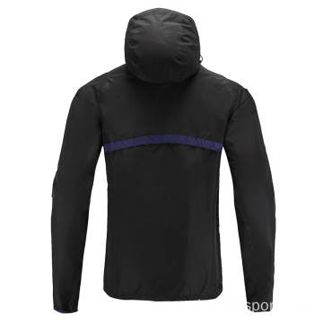 Mens Soccer Wear Zip Up Hoodies Blue