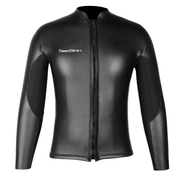 Seaskin Chest Zip Black Neoprene Wetsuits Top