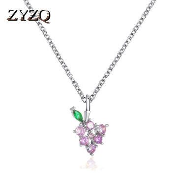 ZYZQ Sweet Crystal Grape Necklace Small Fresh Fruit Pendant Clavicle Chain Valentine's Day Gift Jewelry