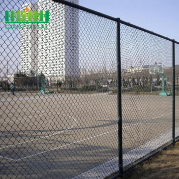 Diamond shaped green fence vinyl coated chain link