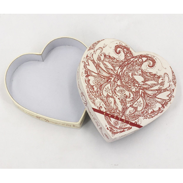 Customized Heart-Shaped White and Red Gift Box