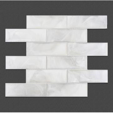 Living Room White Pattern Glass Mosaic Wall Tiles