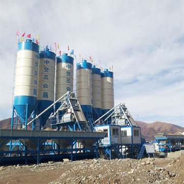 HZS35 stationary concrete mixing plant in Mongolia