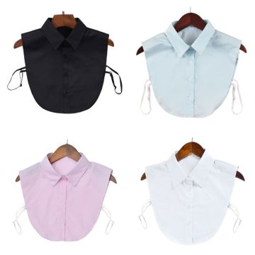 Women Cotton Fake Collar Adjustable Solid Color Detachable Half-Shirt Blouse Tops Clothes Accessories