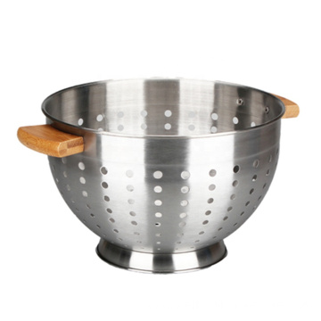 Easy Grip Metal Colander Sith Bamboo Handle