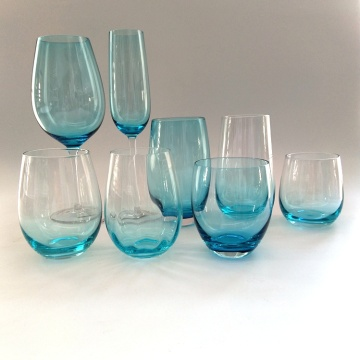 mouth blown blue goblet glass stemless wine cup
