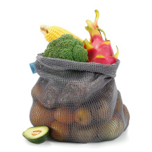 Durable Grocery Bags For Kitchen Provision Mesh Pouch Bag Market String Net Shopping Bags Vegetables Fruit Bag Black S/M/L
