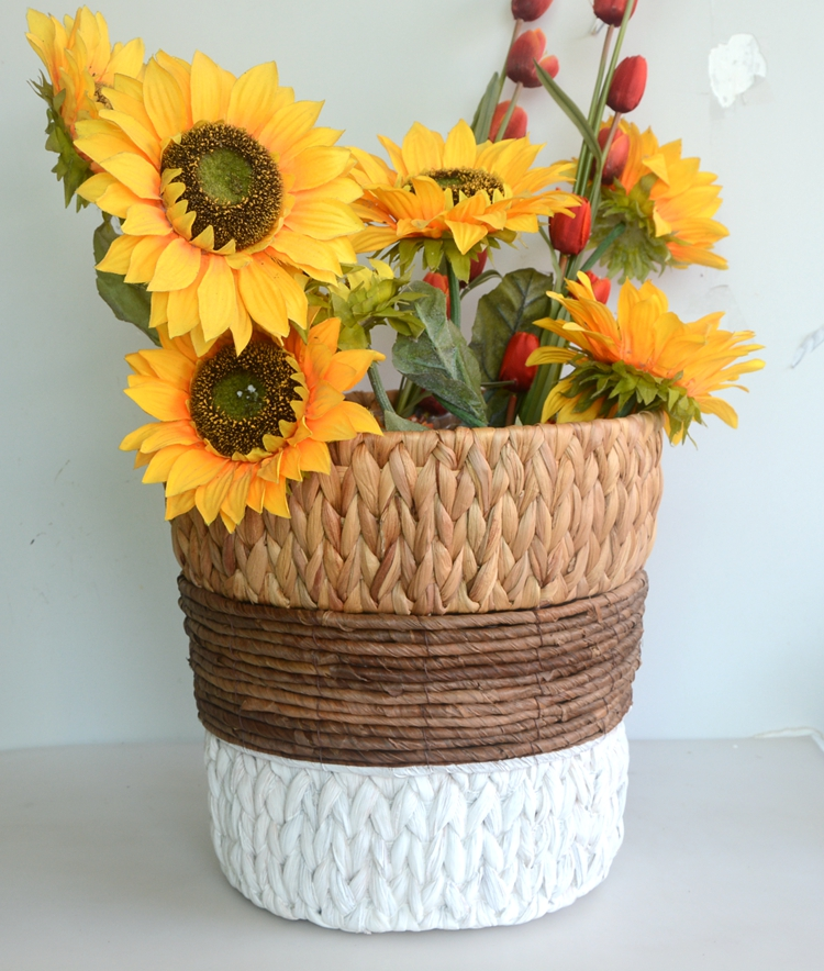 Round water hyacinth and maize rope storage basket-5