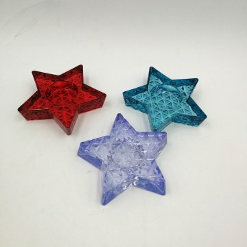 Sparying muti-color star shape glass candle holder for tealight