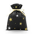 Golden Star Black Christmas Gift Pacaking Bag