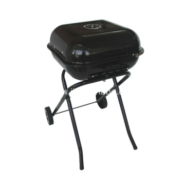 "18"" Square Foldable Charcoal Grill with Trolley"