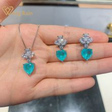 Wong Rain 100% 925 Sterling Silver Heart Paraiba Tourmaline Gemstone Earrings/Pendant/Necklace Wedding Jewelry Sets Wholesale