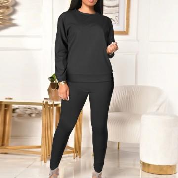 Tracksuit Women Sportwear Winter Thickening Tops + Leggings Ladies Split 2 Piece Sports Suit Casual Solid Color Sauna Suit #3