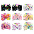 "1piece 8"" JoJo Clip Large Rainbow Unicorn Bow-knot Print Grosgrain Ribbon Hair Bows With Clip Kids Handmade Hair Accessory"
