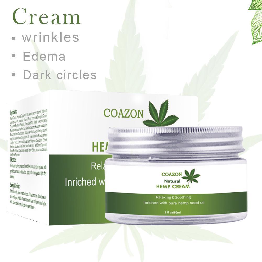 60ML Natural Hemp Face Cream Hemp Oil Cream Moisturizing Hyaluronic Acid Anti Wrinkle Nourishing Collagen Essence Skin Care
