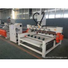 low noise 6 heads rotary cutting cnc router