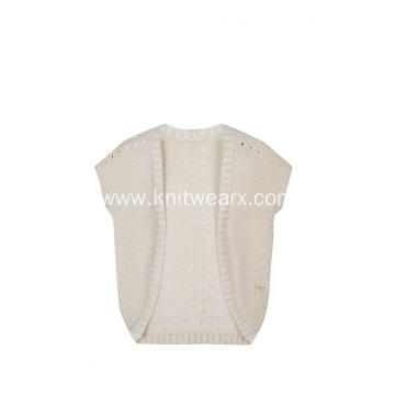 Girl's Knitted Pointelle Logo Embroidery Cardigan Cape