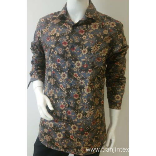 men's print long sleeve shirt 100%cotton slim fit