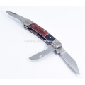 Multifunction 3 Blade Folding Pakkawood Handle Pocket Knives
