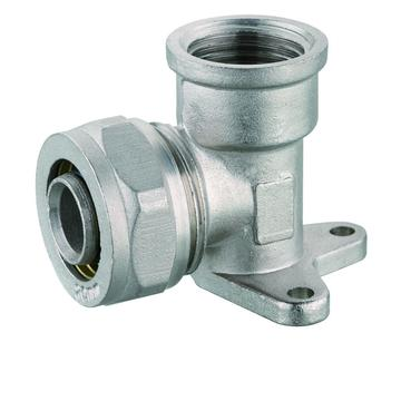 Brass elbow wall plate fitting PEX pipe compression fitting