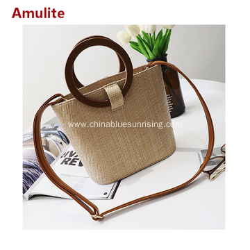 Fashion beach bag simple straw woman hand bag