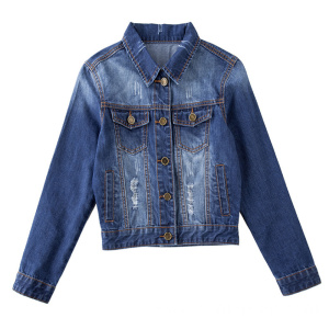 Blue Denim Embroidery Back Mini Jeans Jacket for Ladies